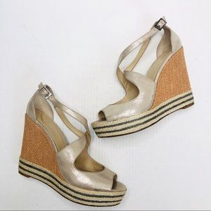 Brian Atwood Jute Gold Satin Crisscross Wedge